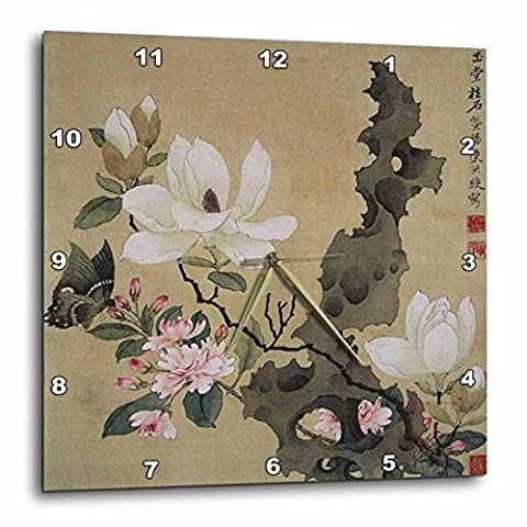 3dRose Print of Chinese Ink Painting with Floral & Butterfly - Wall Clock, 10 by 10-Inch
