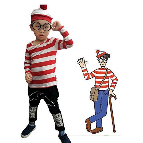 en Familienpaket Smart Woori T-Shirt Brille Hut Socke (Wo Ist Wally Kostüm Frauen)