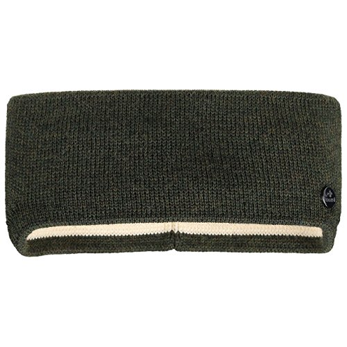 Lierys Fine Merino Stirnband Damen/Herren/Kinder (7,5-10 cm breit) - Made in Germany - mit Merinowolle - Ohrenwärmer gefüttert mit Baumwolle - One Size (53-60 cm) - Herbst/Winter Oliv One Size