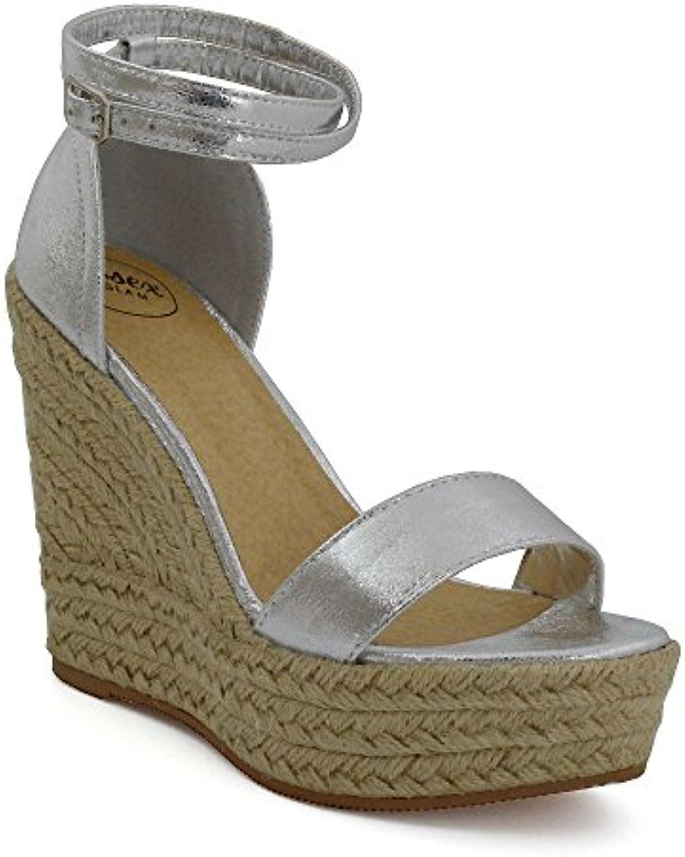 0825b2138c77a ESSEX GLAM 30281 Womens Strappy High Wedge Heel Platform Sandals Ladies  B07235PWY7 Ankle Strappy Peeptoe Espadrilles B07235PWY7 Parent 57cd482 ...