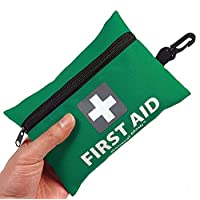 mini first aid kit,92 pieces small first aid kit - includes emergency foil blanket,cpr face mask,scissors for travel, home, office, vehicle,camping, workplace & outdoor (green)