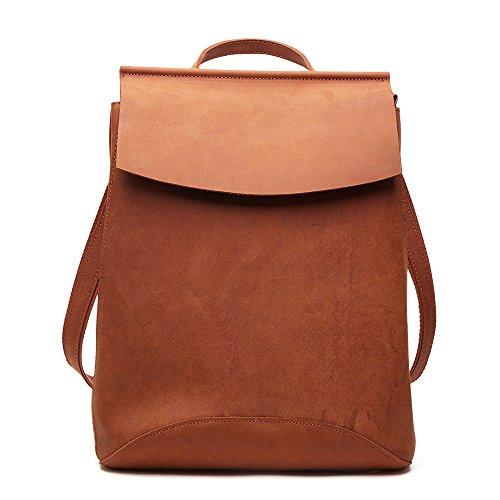 Joyir Damen Retro Leder Vintage Rucksack Lederrucksack Damen Schultertasche Leder Rucksack Für Mädchen (Big Bag)