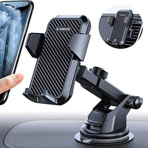 VANMASS Handyhalterung Auto Handyhalter fürs Auto 3 in 1 Kfz Handy Halterung mit Lüftungs & Saugnapfshalter Silikon Schutz Smartphone Handy Halter für Samsung iPhone Huawei Mate LG (Upgrade Version)