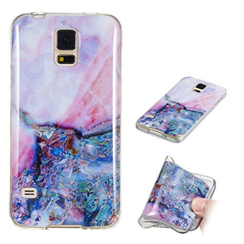 Yunbaozi Marmor Hülle für Samsung Galaxy S5 Schlank Weich Gummi Case Stoßstange Löschen Matte Drucken Natürliche Textur Anti-Scratch Shock Geometrische Muster, Lila Bernsteinfarbiger Marmor