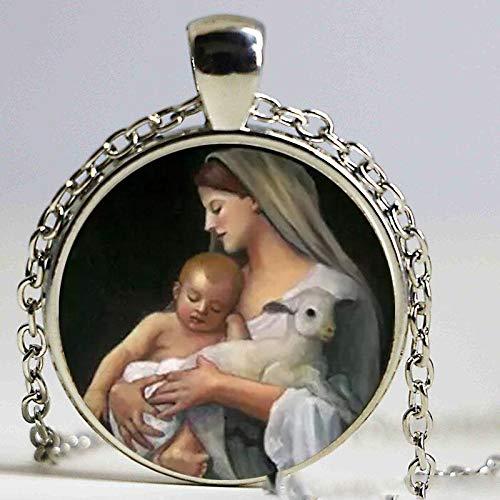 Jungfrau Maria Mutter des Babyhalskette Jesus Christus Christus christlicher Schmuck Glas Foto Halskette