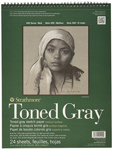 "Strathmore Toned Gray - Carta Pad 11 ""X 14"" - 80Lb grigio, 24 fogli"