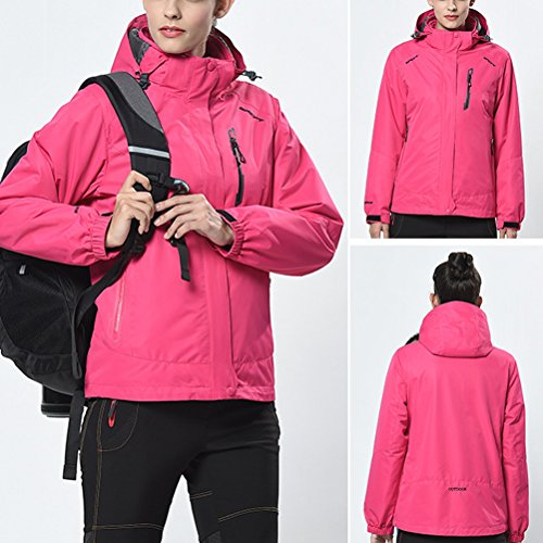 Zhuhaitf Haute qualité Outdoor Adult Womens 3 in 1 Breathable Windproof Warm Sports Jacket Tops Rose Red