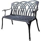 Banc de jardin April en aluminium - design 'Fer Forgé' - bronze ancien