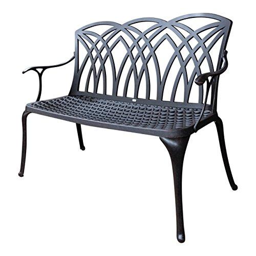 Lazy Susan Furniture - APRIL metal garden bench, Antique Bronze (No cushion) Antique Bronze Chair