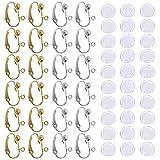 24 pezzi Clip-on del convertitore dell'orecchino & 30 pezzi Cuscinetti orecchino in silicone, con Easy Open Loop, Senhai 12 coppie Argento & Oro Gioielli orecchini orecchino placcato fai da te