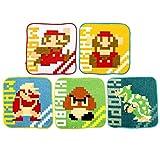Marushin 4505000100 Super Mario Mini-Handtuch (Five Action) 5 Stück