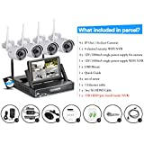 Swinway CCTV Camera Systems with Hard Drive 1TB+ Monitor Home Security Camera Systems HD 4 Home Surveillance Camera Outdoor 720p Wireless Wifi NVR Kit 4Channel