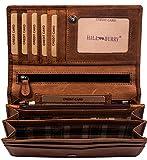 Hill Burry hochwertige Geldbörse | aus weichem Vintage Leder - Langes Portemonnaie - Kreditkartenetui (Braun