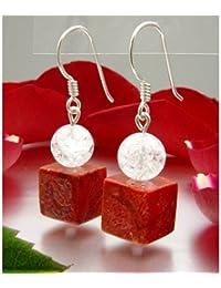 Ohrringe Ohrhänger aus Koralle & Bergkristall & 925 Silber rot weiß Ohrschmuck für Damen