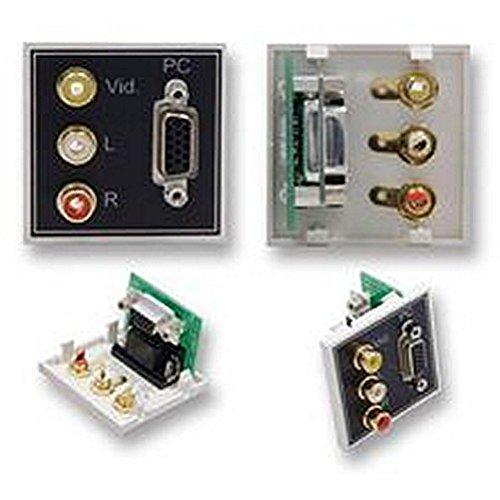 Modul VGA + 3x Phono, 90° ein Modul kann das gemischt und abgestimmt mit anderen zu Passform in einer Vielzahl von Rahmen. 50mm VGA und 3x Cinch-Buchse Modul mit 90° Adapter 50 Mm-modul