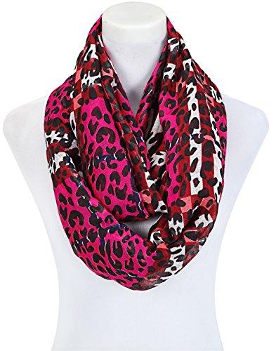 Écharpe en tissu-style--wunderschöne couleurs élégants avec motif léopard-bel automne-accessoires Multicolore - Rouge