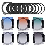 Neewer® Stufenweise Neutral Density Filterset umfasst Set: (3) abgeschufte Grau ND Filter Set (ND2, ND4, ND8) + (3) abgeschufte Farbfilter -Set (grün, orange, blau) + (9) Metall-Adapterringe (49mm, 52mm, 55mm, 58mm, 62mm, 67mm, 72mm, 77mm, 82mm) + (1) Quadratisch Filterhalter + (1) Filter Tragetasche - 4