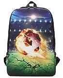 Panegy 3D Druck Rucksack Fußball Druck Daypack Junge Sport Rucksack Rock Stil Schulrucksack für Freizeit Outdoor Wanderrucksack - Muster 5