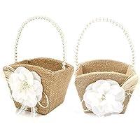 awtlife 2pcs rústico Burlap boda flores niña cesta perlas mango para Vintage rústico boda ceremonia