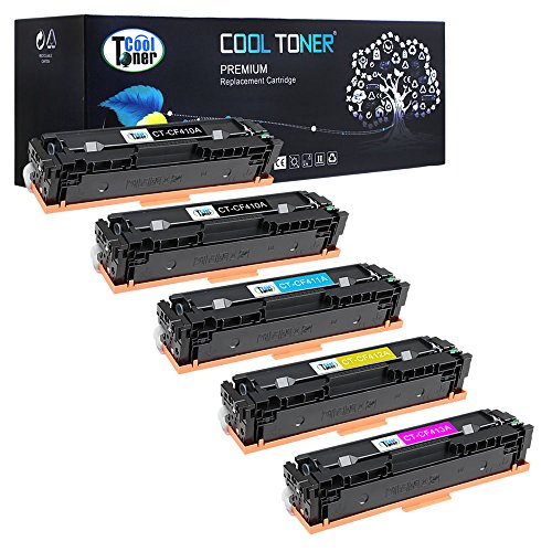 Preisvergleich Produktbild Cool Toner 5-PACKS Toner Cartridge 410A CF410A for HP Color Laserjet 477 M477 M 477 Toner Drucker Pro MFP M477fdw M477fnw- Farblaserdrucker Multifunktionsgerät CF410A CF411A CF412A CF413A Toner Magenta Yellow Cyan Schwarz