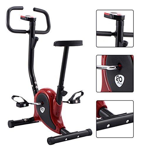 GOPLUS Fitness Fahrrad F-Bike Fitnessbike Heimtrainer Fahrrad Trainer bis 120kg höhenverstellbar Farbwahl (schwarz+rot)