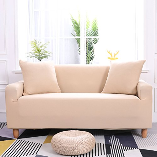 DW&HX Elastische slipcover volltonfarbe,Sofabezug elastischen riemen 1,2,3,4,5 sitze Perfekt für kinder und haustiere Anti-rutsch Sofa protector -I 4 Sitzer