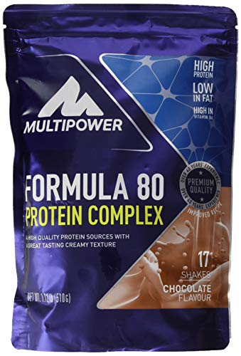 Multipower Formula 80 Protein Complex - Mehrkomponenten Protein Pulver für den Muskelaufbau - Proteinpulver mit Casein für eine langfristige Versorgung - mit cremigem Schokoladen Geschmack - 510 g -