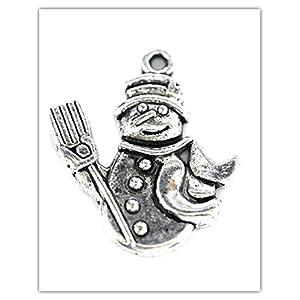 Just Say Beads - Pendagli a foma di pupazzo di neve, colore: argento anticato, anelli di raccordo inclusi, 6 pezzi