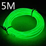 Efrank 5M length Flexible Neon Glowing Strobing Electro Luminescent Wire, EL Wire Indoor Electroluminescent Rope lighting with Battery Box (5m, Green)