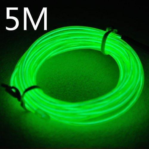 Efrank 5M Neon Beleuchtung EL Wire EL Kabel ,Rope Landscape Lighting Weihnachten Licht für Weihnachtsfeiern, Rave-Partys, Halloween-Kostüm oder einem Einzelhandelsgeschäft Display (Grün)
