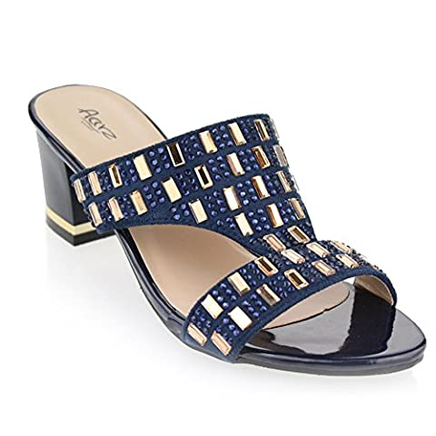 Women Ladies Evening Casual Party Slip On Diamante Decorated Block Heel Navy Blue Sandals Shoes Size