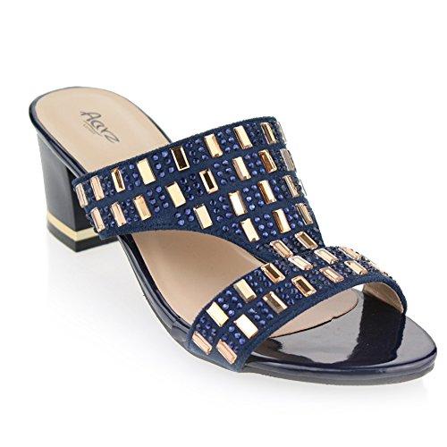 Aarz femmes Mesdames Soirée Confort Slip-On Sandal Diamante Wedding Party Moyen Bloquer Chaussures à talon Taille 3-9 (Noir, Bleu Marine) Navy blue