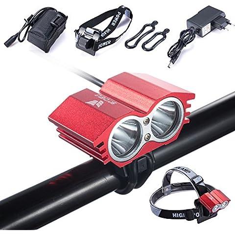 Luz de la bici LED búho 5000 lumens impermeable XML U2 LED luz de la bicicleta + batería + cargador lámpara interruptor 4 modos Hangerworld (rojo)