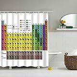 CHIPYHOME Cortina de baño/Ducha Blanca con Tabla periodica de Elementos quimicos Muy Original Tanto para Friki Regalo como para Estudiantes