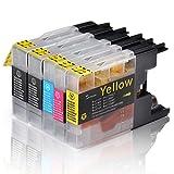 Tigtak® - 5 x Stück Druckerpatronen kompatibel für Brother LC-1220 LC-1240 LC1220 LC1240 für MFC-J430W MFC-J5910DW MFC-J6510DW MFC-J6710DW MFC-J825DW (2 Schwarz, 1 Blau, 1 Rot, 1 Gelb)