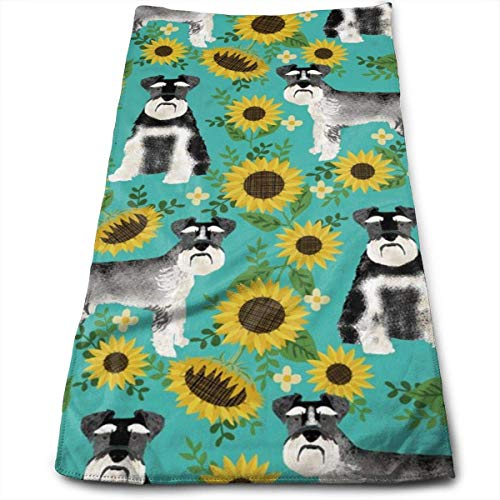 WYICPLO Schnauzer Dog and Sunflower Summer Hand Towels Dishcloth Floral Linen Hand Towels Super Soft Extra Absorbent for Bath,Spa and Gym 27.5 Inch X17.5 Inch -