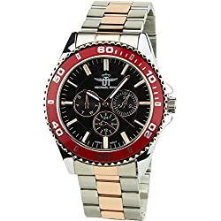 MICHAEL JOHN -Men's Watch Silver Quartz Black Red case Steel Analogue Display Band Steel