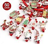 50er Weihnachten Klammern Weihnachtsdeko Holzklammern für Fotos Absofine Mini Klammern mit süßen Weihnachten Figuren Wäscheklammern Dekoklammern Holzwäscheklammern Zierklammern