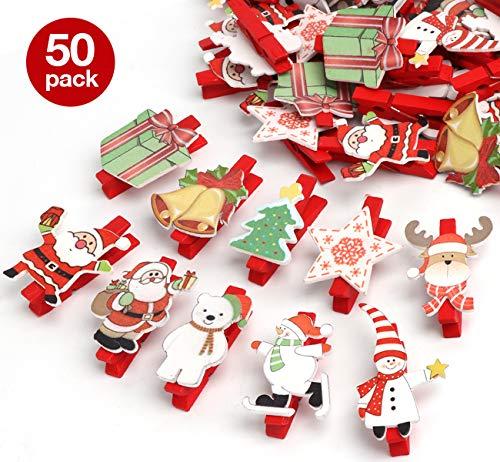 50 Piezas Navidad Patrón Mini pinzas de madera colorido Navidad decoration Nota...