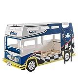 Jugendmöbel24.de Etagenbett Polizei 90 * 200 blau/weiß mit gerader Leiter Holz MDF Autobett Spielbett Kinderzimmer Bett Stockbett Kinderbetten
