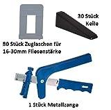 Nivelliersystem 1mm 80 Laschen 16-30mm Fliesenstärke 30 Keile + Metallzange