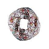 TUDUZ Damenschal Herbst Winter Eulen Muster Schlauchschal Loop Schal Rundschal (Weiß)