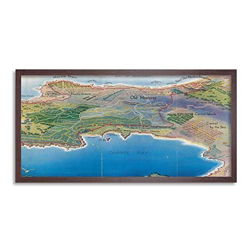 Map Bull 1928 Bird's Eye Monterey Peninsula Country Club Framed Wall Art Print Long 25X12 Inch Karte Vogel Wand