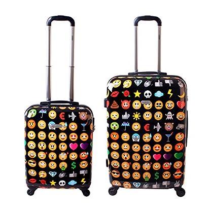 Karry-Hartschalen-Reise-Koffer-Trolley-TSA-Schwarz-Emoji-820
