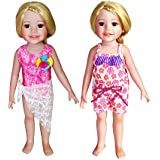 HappyBB 2 PCS Baby Doll Clothes Fits 16 To 18 Inches American Girl Doll - Flower Printed Swimsuit & One Piece Swimwear With Lace Shawl