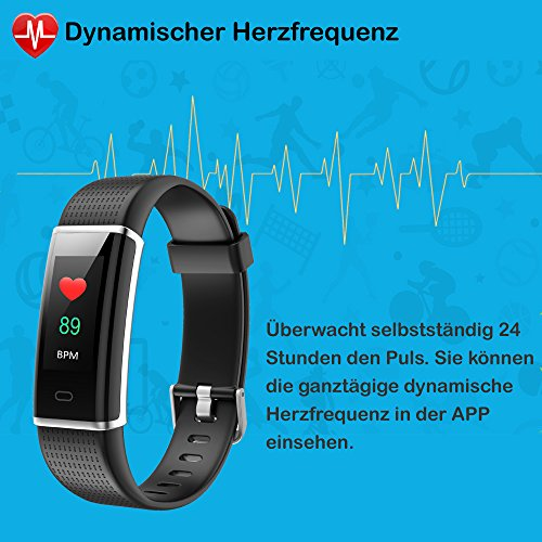 Willful Fitness Armband mit Pulsmesser,Wasserdicht IP68 Fitness Tracker Farbbildschirm Aktivitätstracker Pulsuhren Schrittzähler Uhr Smartwatch für Damen Herren - 5