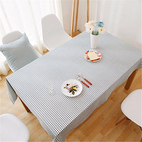 Hxc Home Gris Checker Nappe en coton et lin style japonais minimaliste moderne Table de salle à manger rectangulaire Desk Table carrée Chiffon respectueux de l'environnement couvrant, Coton/lin, gris, 90*145cm