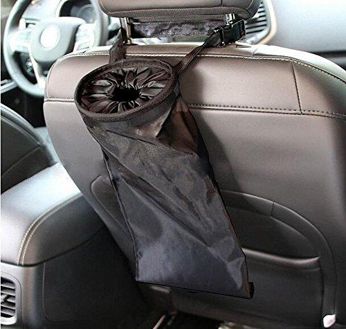 tuorong Universal Auto Fahrzeug Rücksitz Kopfstütze Katzenstreu Trash Garbage Tasche Halter Container Lagerplatz (schwarz) (Drop-front-tank)