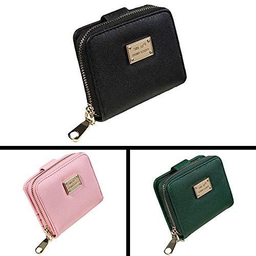 Vovotrade donne della signora della borsa del raccoglitore della frizione Breve Small Card sacchetto del supporto (Nero) Rosa