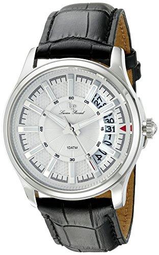 Lucien Piccard Reloj de hombre de cuarzo con Esfera Plateada Pantalla Analógica y Negro Correa de piel lp-40025–02S